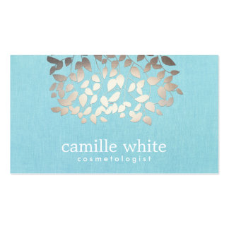 Cosmetology Faux Foil Leaves Turquoise Linen Look Business Card Templates