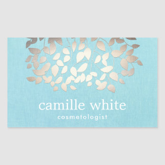 Cosmetology Faux Foil Leaves Turquoise Linen Rectangular Sticker