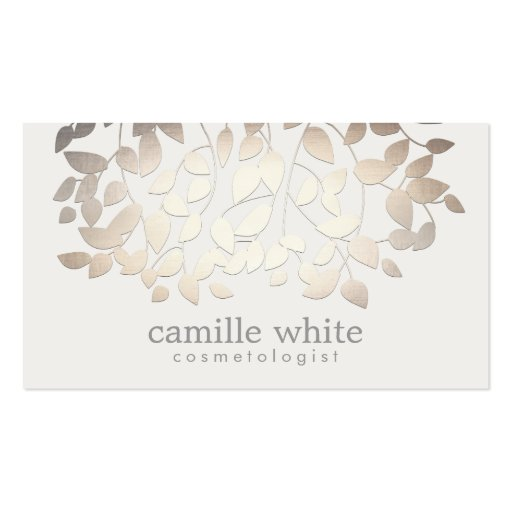 Cosmetology Faux Gold Foil Leaves Business Card