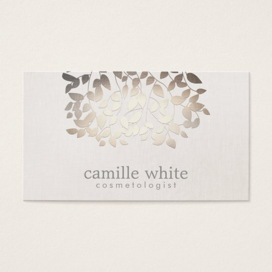 Cosmetology Faux Gold Foil Leaves Linen Look Business Card