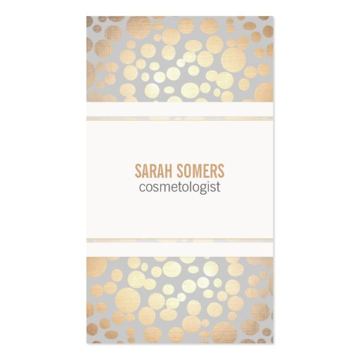 Cosmetology Faux Gold Leaf Light Gray Double-sided Standard Business Cards (pack Of 100)