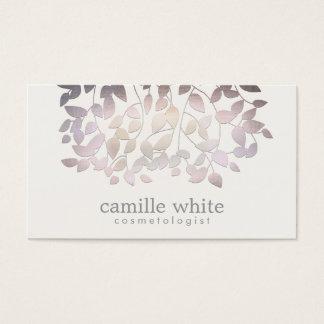 Cosmetology Faux  Purple Foil Leaves Linen Look Business Card
