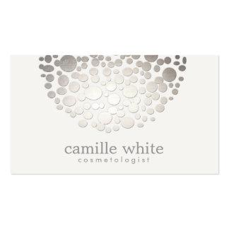 Cosmetology Faux Silver Foil Circle Motif Beauty Business Card