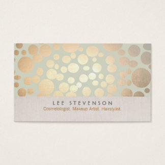 Cosmetology Gold Circles Pale Sage Green Business Card