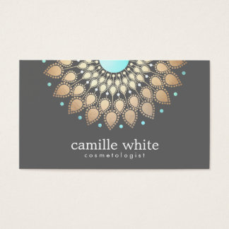 Cosmetology Gold Ornate Motif Gray Business Card
