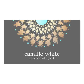 Cosmetology Gold Ornate Motif Gray Double-Sided Standard Business Cards (Pack Of 100)