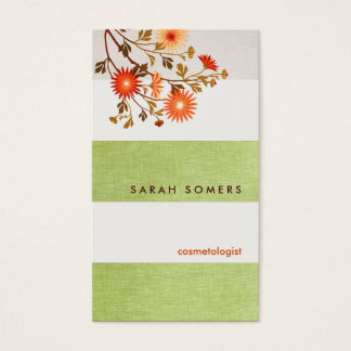 Cosmetology Green  Striped Linen Natural Beauty Business Card
