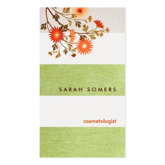 Cosmetology Green  Striped Linen Natural Beauty Double-Sided Standard Business Cards (Pack Of 100)