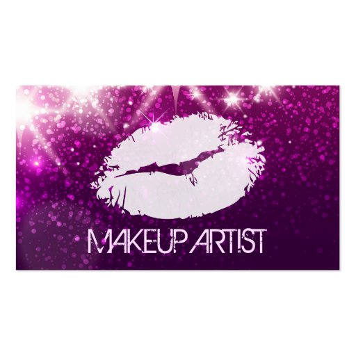 Cosmetology MakeUp Artist - Stylish Purple Glitter Business Card Templates (front side)