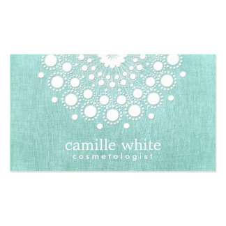 Cosmetology Pretty Circle Motif Light Aqua Blue Business Cards
