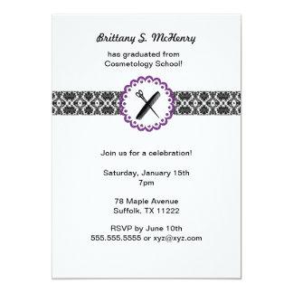 Opening ceremony invitations announcements zazzle cosmetology school damask graduation invite purple stopboris Image collections