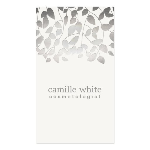 Cosmetology Silver Foil Embossed Look Leaves Gray Business Card Template