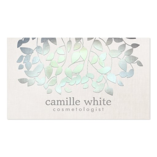 Cosmetology Spa Blue Green Leaves Linen Look Business Card Templates