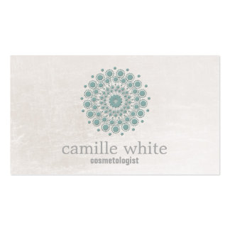 Cosmetology Teal Circle Ivory Texture Neutral Spa Double-Sided Standard Business Cards (Pack Of 100)