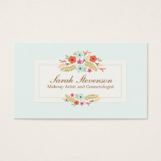 Cosmetology Whimsical Flowers Light Blue Spa Business Card