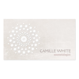 Cosmetology White Circle Ivory Texture Elegant Spa Double-Sided Standard Business Cards (Pack Of 100)