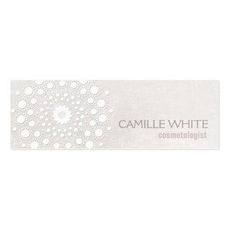 Cosmetology White Circle Ivory Texture Elegant Spa Mini Business Card