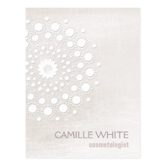 Cosmetology White Circle Ivory Texture Elegant Spa Postcard