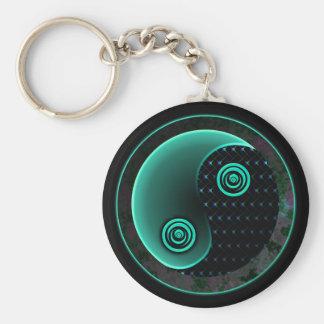 Cosmic Aqua In Balance Yin Yang Keychain