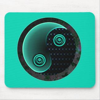 Cosmic Aqua In Balance Yin Yang Mouse Pad