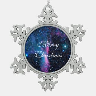 Cosmic Ballerina in space NASA Snowflake Pewter Christmas Ornament
