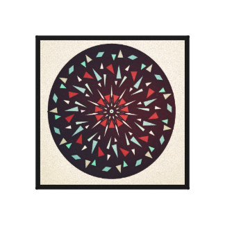 Cosmic Black Tan Red Geometric Shatter Picture Canvas Print