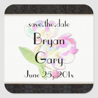 Cosmic Blossoms WEDDING Save-The-Date Square Sticker