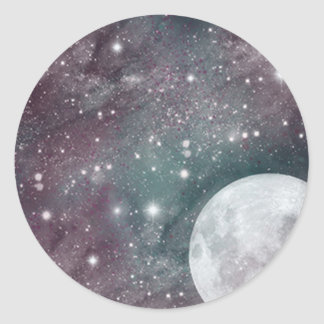 Cosmic Blue and Purple Moon Classic Round Sticker