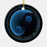 Cosmic Blue in Balance Yin Yang Christmas Tree Ornaments