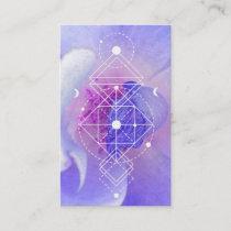 *~* Cosmic Blue Rose Sacred Geometry Yoga Reiki Business Card