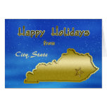 Cosmic Blue Sky Kentucky Map Custom Greeting Card