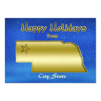 Cosmic Blue Sky Nebraska Map Custom Invitation