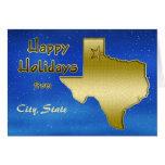 Cosmic Blue Sky Texas Map Custom Greeting Card