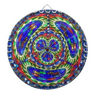 Cosmic Blue Spiritual Ghost Art by Navin Joshi Dartboard With Darts