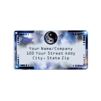 Cosmic Blue Yin Yang Address Label
