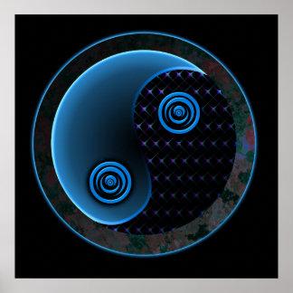 Cosmic Blue Yin Yang Poster