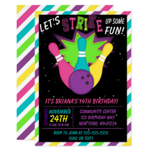 Cosmic Bowling Invitation Girls Birthday Party