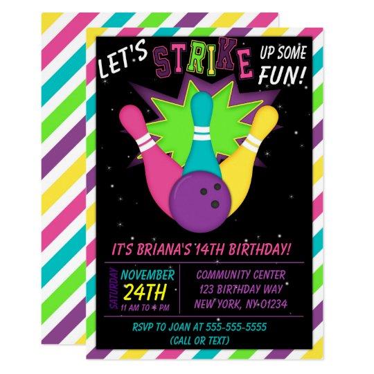 Cosmic Bowling Invitation Girls Birthday Party Zazzle Com