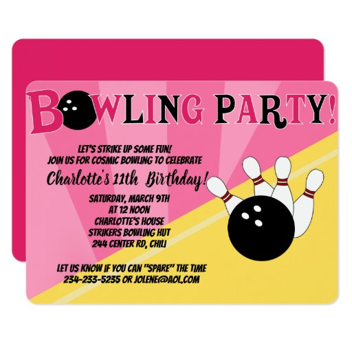 Cosmic Bowling Party Invitation Pink Die Cut