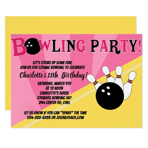 Cosmic Bowling Party Invitation Yellow