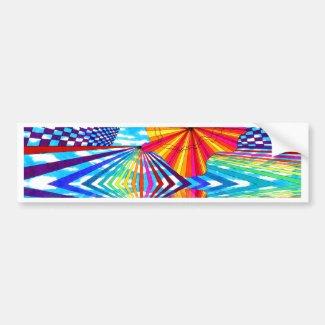 Cosmic Bright Geometric Kaleidoscope Rainbow Art Bumper Sticker