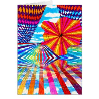 Cosmic Bright Geometric Kaleidoscope Rainbow Art Greeting Cards