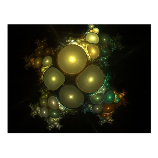 Cosmic Bubbles Abstract Fractal Design Postcard
