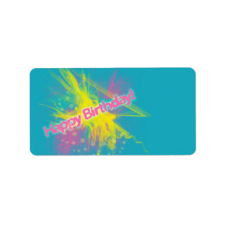 Cosmic Burst Happy Birthday Label