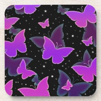 Cosmic Butterflies in Purple Beverage Coaster