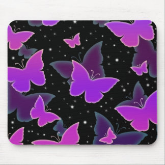 Cosmic Butterflies in Purple Mouse Pad