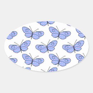 Cosmic Butterfly Pattern Oval Sticker