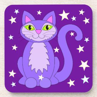 Cosmic Cat Cute Smiling Cartoon Kitty Purple Coaster