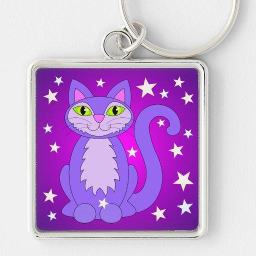 Cosmic Cat Cute Smiling Cartoon Kitty Purple Key Chain