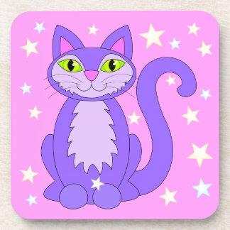 Cosmic Cat Design Smiling Cartoon Kitty Stars Pink Coaster